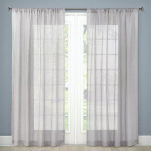 "Sheer Linen Curtain Panel 84""x54"" Threshold New"